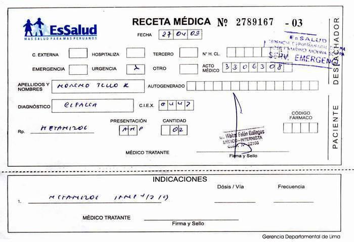 Peru, EsSalud, desactivar, Padomi, paracetamol